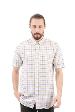 Izod Off-White Half Sleeves Checks Shirt