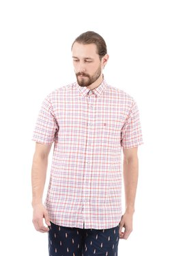 Izod White Half Sleeves Checks Shirt