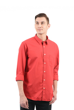 Izod Red Solid Full Sleeves Shirt