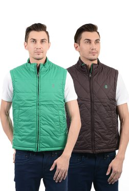 Izod Green & Brown Sleeveless Reversible Jacket