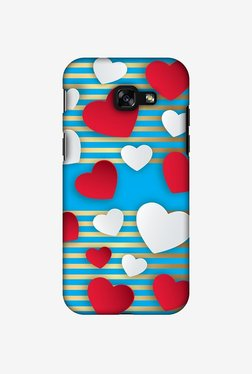 Amzer Blue Gold Lines With Hearts Designer Case For Samsung Galaxy A3 2017