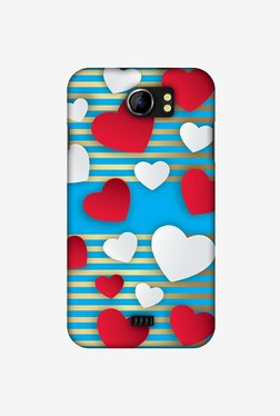 Amzer Blue Gold Lines With Hearts Designer Case For Micromax Canvas 2 A110
