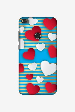 Amzer Blue Gold Lines With Hearts Designer Case For Huawei P8 Lite 2017