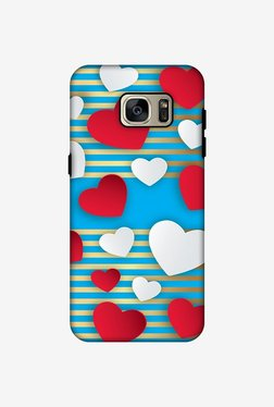 Amzer Blue Gold Lines With Hearts Hybrid Dual Layer Designer Case For Samsung Galaxy S7 Edge