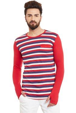 Hypernation Red & Blue Striped Round Neck Cotton T-Shirt