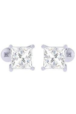 Clara White Sterling Silver Princess Cut CZ Stud Earrings 67c9f4707ac4