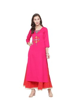 Varanga Fuchsia & Red Embroidered Kurta With Palazzo