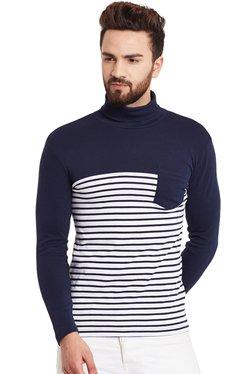 Hypernation Navy & White Full Sleeves Cotton T-Shirt