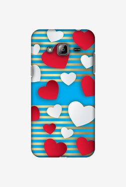 Amzer Blue Gold Lines With Hearts Designer Case For Samsung Galaxy J2