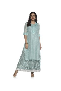 Vark By Westside Light Blue Floral Maxi Dress Ethnic Set