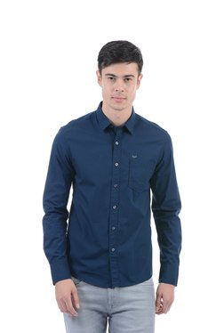 Flying Machine Royal Blue Solid Full Sleeves Slim Fit Shirt