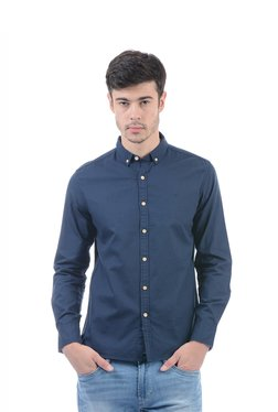 Flying Machine Navy Solid Slim Fit Shirt
