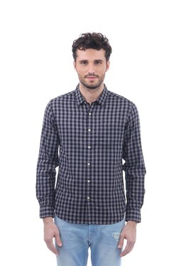 Flying Machine Black & Grey Slim Fit Checks Shirt