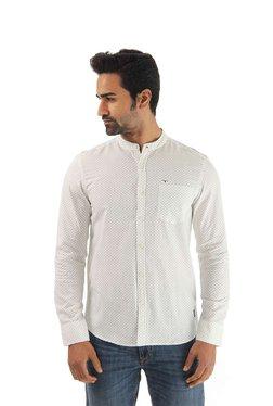 Flying Machine White Printed Cotton Band Collar Shirt