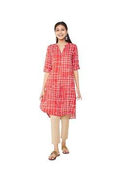 Global Desi Red Printed Tunic Dress