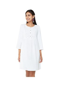 Global Desi White Round Neck Tunic