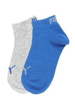 17e2951d Puma Kids Blue & Grey Cotton Quarter Length Socks - Pack ...