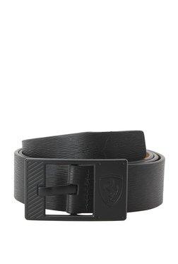 Puma SF LS Black Textured Leather Narrow Belt