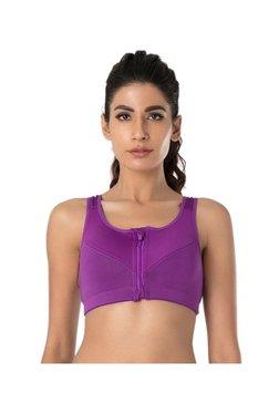PrettySecrets Purple Zip-Front Sports Bra