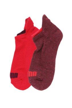 50d8838fcb Puma Red   Maroon Solid Cotton Low Cut Socks - Pack ...