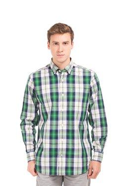 Nautica Green & White Full Sleeves Checks Shirt