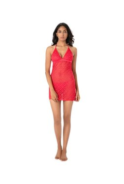 PrettySecrets Red Lace Babydoll With G-String