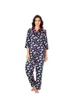 PrettySecrets Navy Floral Print Pyjama Set