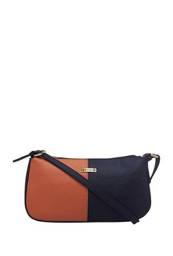 Esbeda Orange & Black Color Block Shoulder Bag