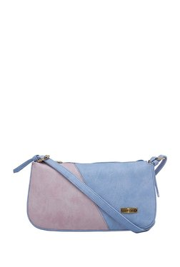 Esbeda Light Pink & Light Blue Color Block Shoulder Bag
