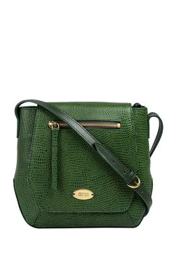 Hidesign Taurus 01 Green Textured Leather Flap Sling Bag