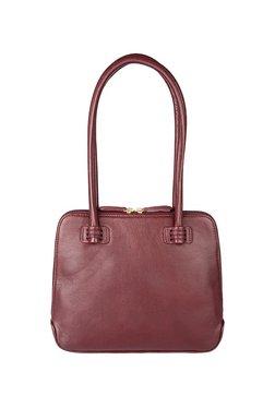 Hidesign Estelle Small Maroon Solid Leather Shoulder Bag