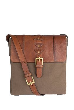Hidesign Simba 01 Tan & Brown Paneled Leather Flap Sling Bag