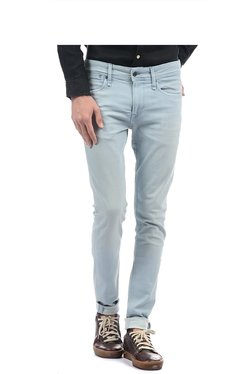 Pepe Jeans Light Blue Solid Regular Fit Mid Rise Jeans