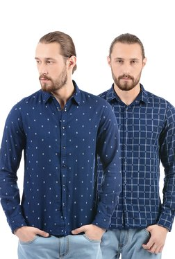 Pepe Jeans Navy Slim Fit Cotton Reversible Shirt
