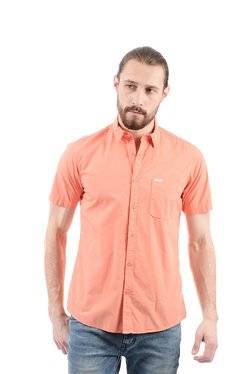 Pepe Jeans Peach Half Sleeves Regular Fit Shirt
