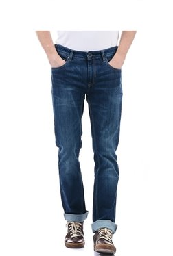 Pepe Jeans Dark Blue Solid Mid Rise Jeans