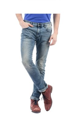 Pepe Jeans Blue Distressed Slim Fit Mid Rise Jeans