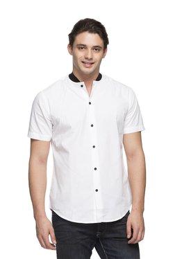 bd9348cc2a9 Cottonworld White Half Sleeves Slim Fit Shirt