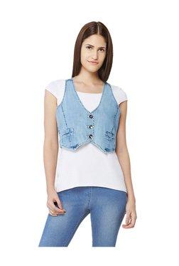AND Blue Regular Fit Cropped Denim Vest