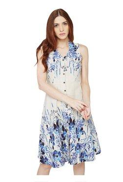 AND Beige Floral Print Knee Length Skater Dress