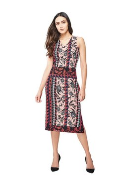 AND Pink & Black Printed Midi Dress