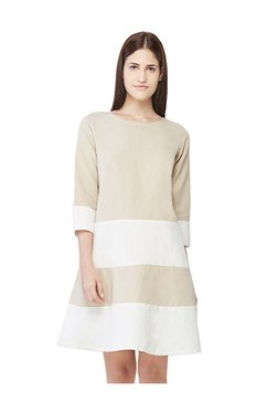 AND Off White Striped Above Knee A-Line Dress