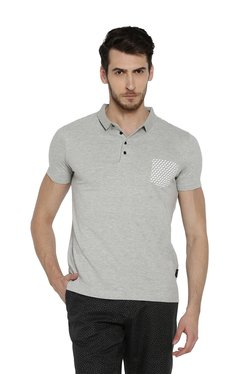 Rare Rabbit Grey Half Sleeves Polo Cotton T-shirt