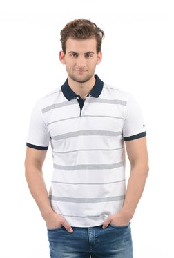Arrow Sport White & Navy Half Sleeves Striped Polo T-shirt