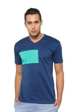 Rare Rabbit Royal Blue & Aqua Blue V Neck T-shirt