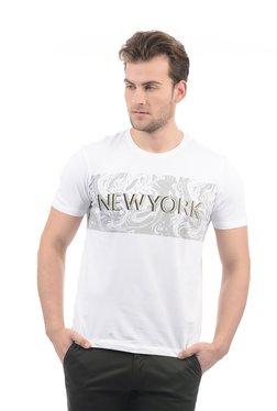 Arrow New York White Round Neck Cotton T-shirt