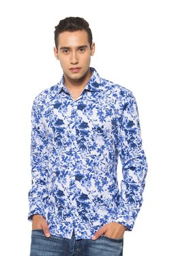 Rare Rabbit White & Blue Printed Slim Fit Cotton Shirt