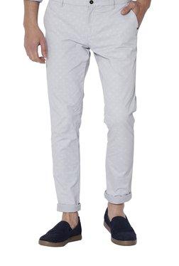 Rare Rabbit Light Grey Slim Fit Checks Trousers