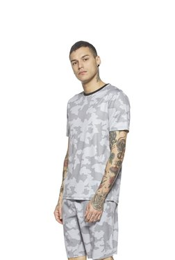 Studiofit By Westside Grey Printed Slim Fit T-Shirt