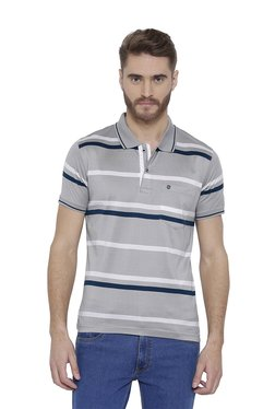 Duke Light Grey Striped Regular Fit Polo T-Shirt